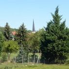 schiefer Kirchturm Predel