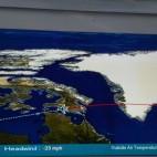 Unsere Flugroute führte sehr weit nach Norden