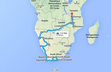Die Route durch das südliche Afrika
