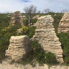 Die Kalksteine am Cape D'Entrecasteaux ähneln gestapelten Eierkuchen.